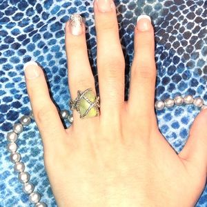 RARE Carolyn Pollack Green Garnet Ring